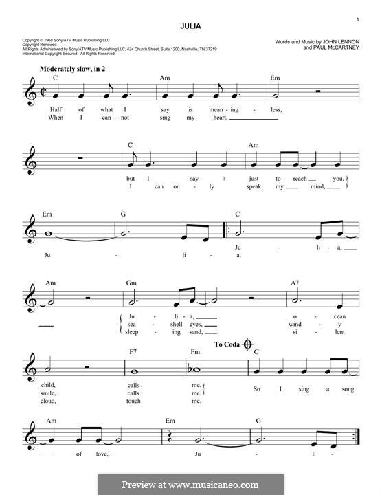 Julia (The Beatles): melodia by John Lennon, Paul McCartney