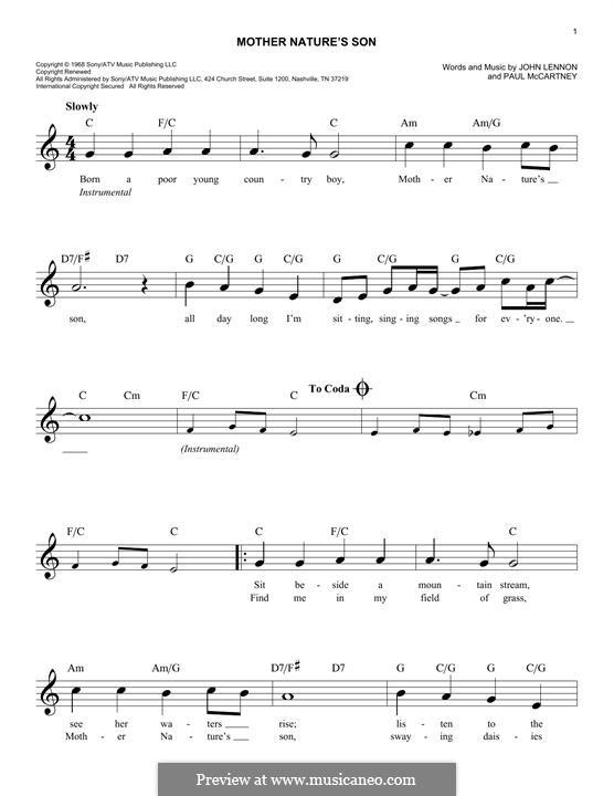 Mother Nature's Son (The Beatles): melodia by John Lennon, Paul McCartney