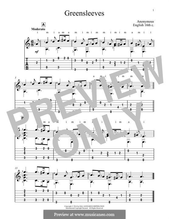 Greensleeves (Printable scores): Para Guitarra by folklore