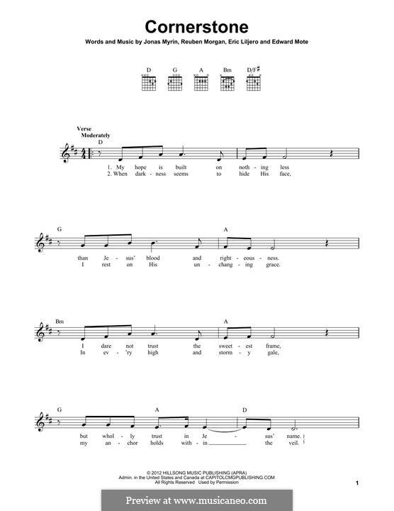Cornerstone (Hillsong): Para guitarra com guia by Jonas Myrin, Reuben Morgan, Eric Liljero