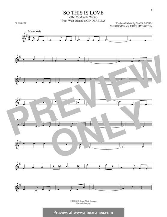 So This Is Love (The Cinderella Waltz): para clarinete by Al Hoffman, Jerry Livingston, Mack David