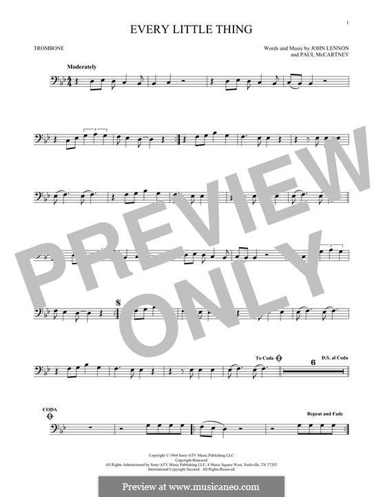 Every Little Thing (The Beatles): para trombone by John Lennon, Paul McCartney