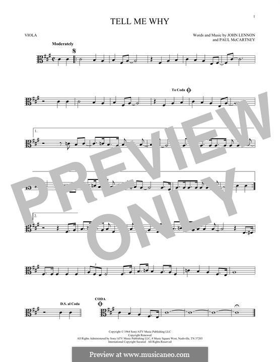 Tell Me Why (The Beatles): para viola by John Lennon, Paul McCartney