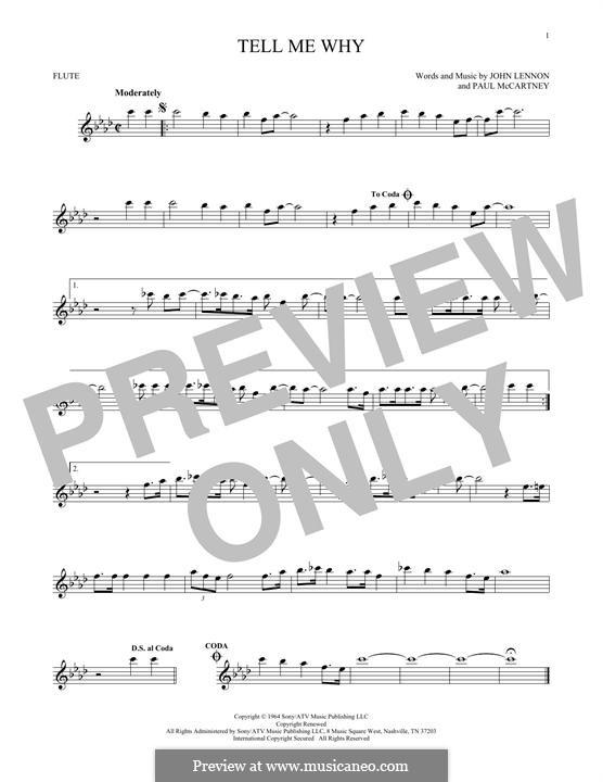 Tell Me Why (The Beatles): para flauta by John Lennon, Paul McCartney