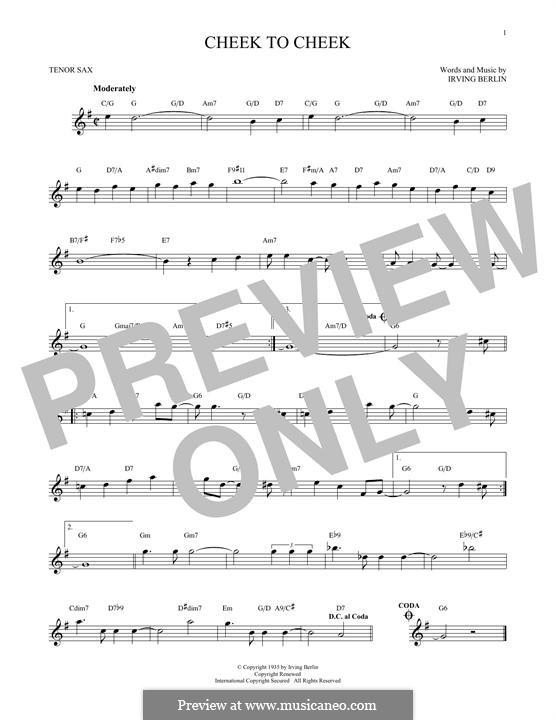 Cheek to Cheek: para saxofone tenor by Irving Berlin