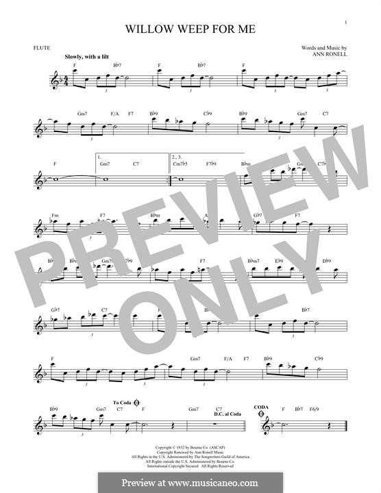 Willow Weep for Me (Chad & Jeremy): para flauta by Ann Ronell