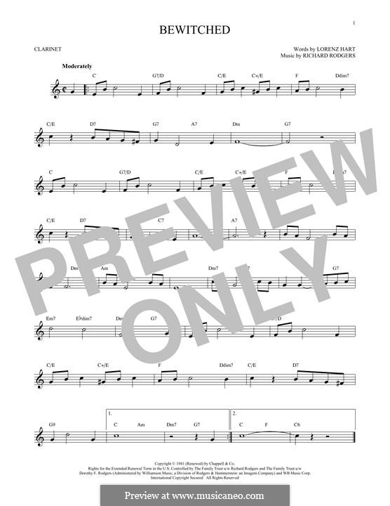 Bewitched (The Betty Smith Group): para clarinete by Richard Rodgers
