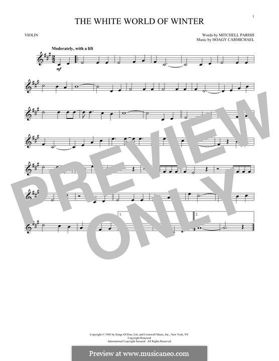 The White World of Winter: para violino by Hoagy Carmichael
