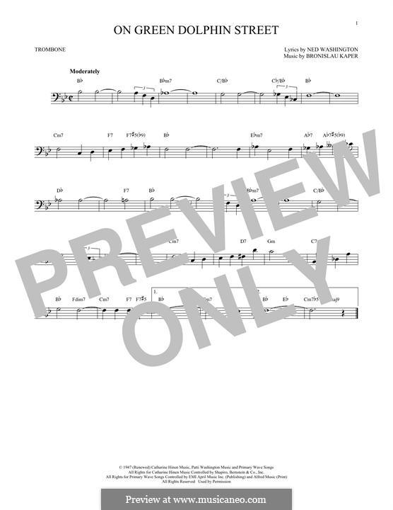 On Green Dolphin Street: para trombone by Bronislau Kaper