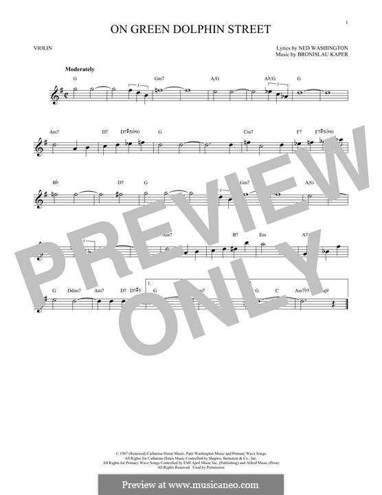 On Green Dolphin Street: para violino by Bronislau Kaper