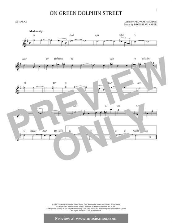 On Green Dolphin Street: para Saxofone Alto by Bronislau Kaper