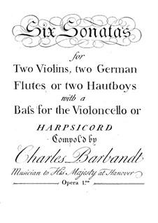 Six Trio Sonatas, Op.1: Flute or oboe part by Charles Barbandt