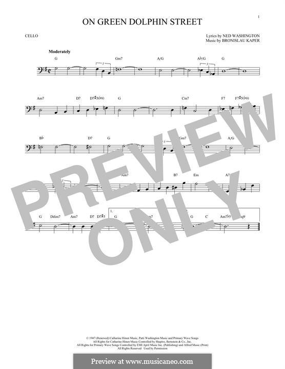 On Green Dolphin Street: para violoncelo by Bronislau Kaper