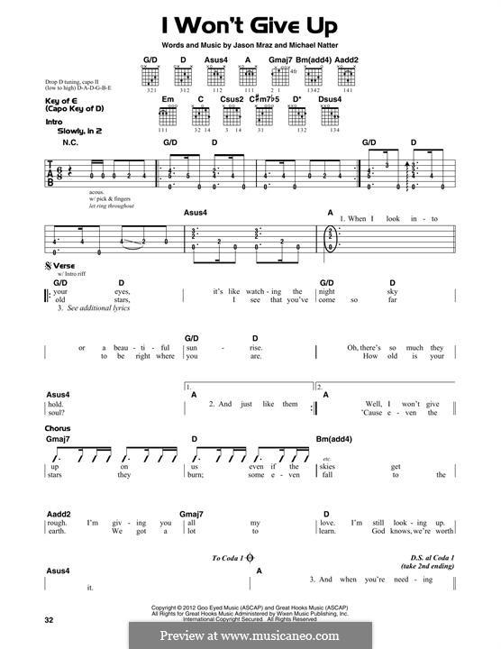 I Won't Give Up: Para Guitarra by Jason Mraz, Michael Natter