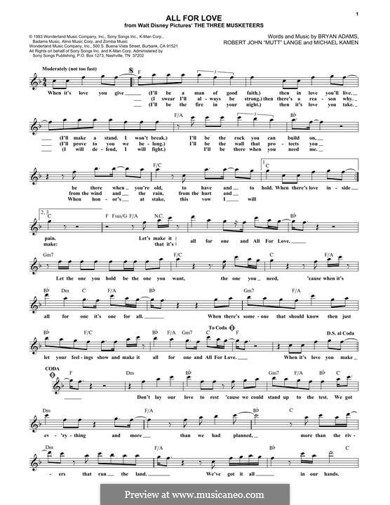 All for Love (Bryan Adams, Rod Stewart & Sting): melodia by Bryan Adams, Michael Kamen, Robert John Lange