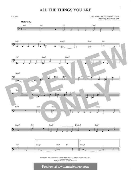 Instrumental version: para violoncelo by Jerome Kern