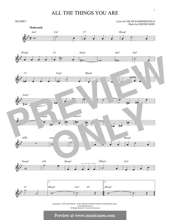 Instrumental version: para trompeta by Jerome Kern