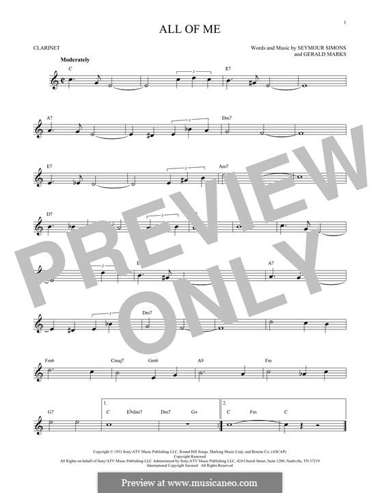 All of Me: para clarinete by Seymour Simons, Gerald Marks