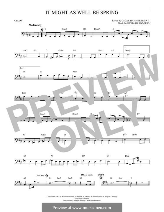 It Might as Well Be Spring: para violoncelo by Richard Rodgers