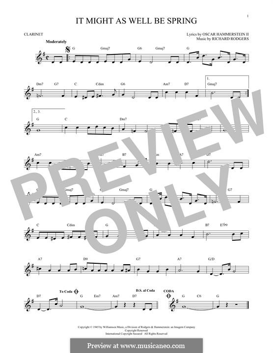 It Might as Well Be Spring: para clarinete by Richard Rodgers