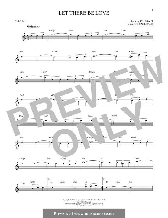 Let There Be Love (Nat 'King' Cole): para Saxofone Alto by Lionel Rand