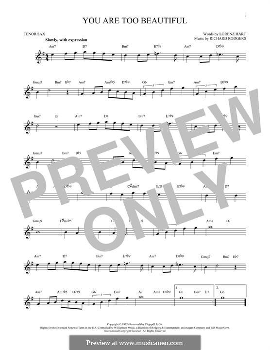 You are too Beautiful: para saxofone tenor by Richard Rodgers