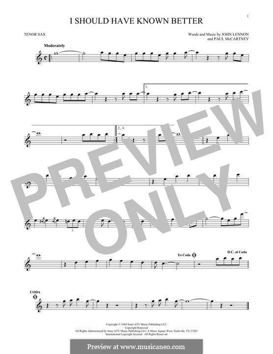 I Should Have Known Better (The Beatles): para saxofone tenor by John Lennon, Paul McCartney