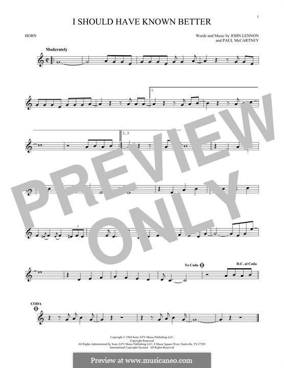 I Should Have Known Better (The Beatles): For horn by John Lennon, Paul McCartney