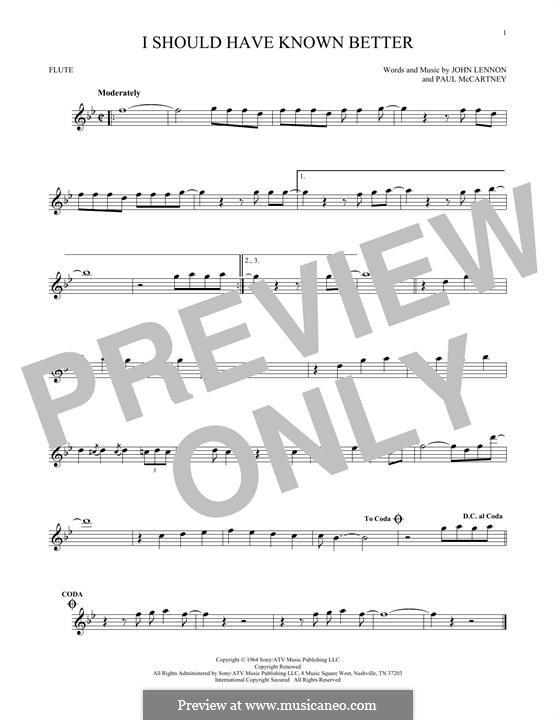 I Should Have Known Better (The Beatles): para flauta by John Lennon, Paul McCartney