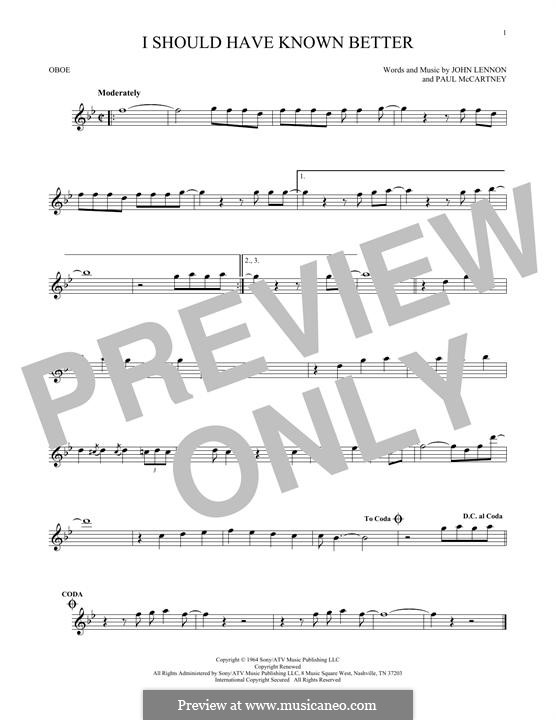 I Should Have Known Better (The Beatles): For oboe by John Lennon, Paul McCartney