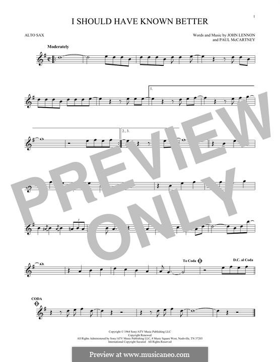 I Should Have Known Better (The Beatles): para Saxofone Alto by John Lennon, Paul McCartney
