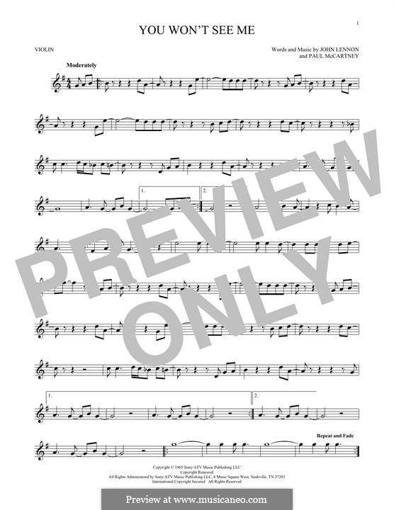 You Won't See Me (The Beatles): para violino by John Lennon, Paul McCartney