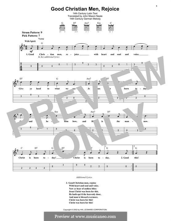 Good Christian Men, Rejoice: Para guitarra com guia by folklore