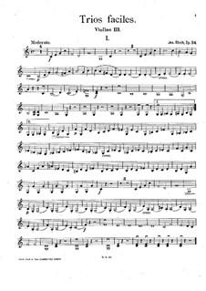 Easy Trios for Three Violins, Op.34: violinos parte III by József Bloch