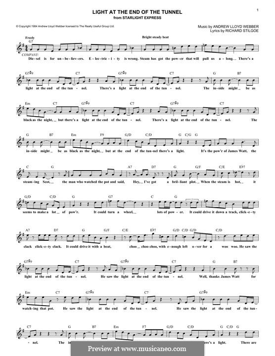 Light at the End of the Tunnel: Letras e Acordes by Andrew Lloyd Webber