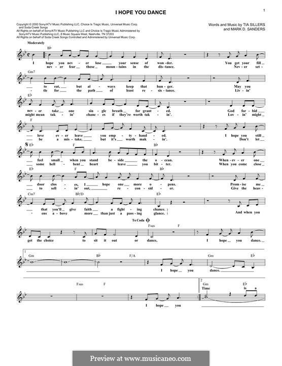 I Hope You Dance (Lee Ann Womack): Letras e Acordes by Mark D. Sanders, Tia Sillers