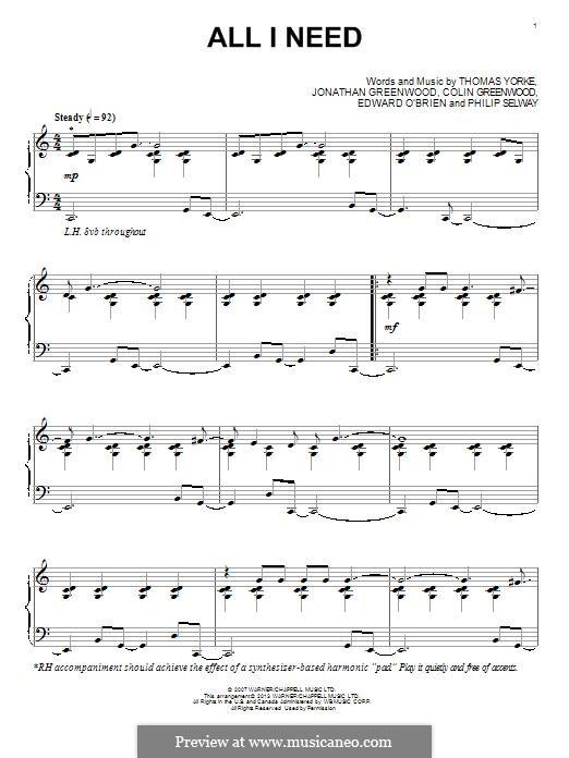 All I Need (Radiohead): Para Piano by Thomas Yorke