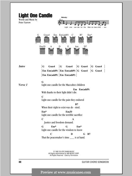 Light One Candle (Peter, Paul & Mary): Letras e Acordes by Peter Yarrow