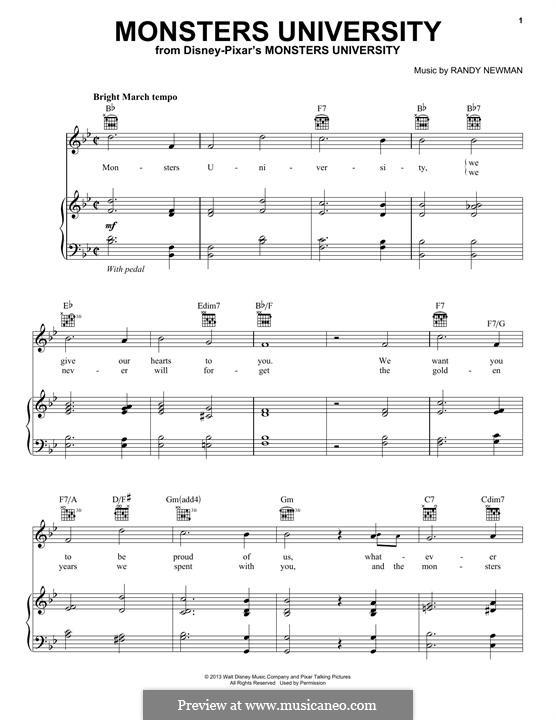 Monsters University: Para vocais e piano (ou Guitarra) by Randy Newman