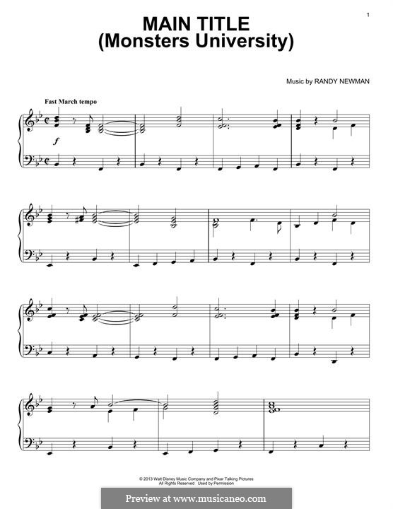 Main Title (Monsters University): Para Piano by Randy Newman