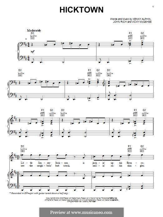 Hicktown (Jason Aldean): Para vocais e piano (ou Guitarra) by John Rich, Kenny Alphin, Vicky McGehee