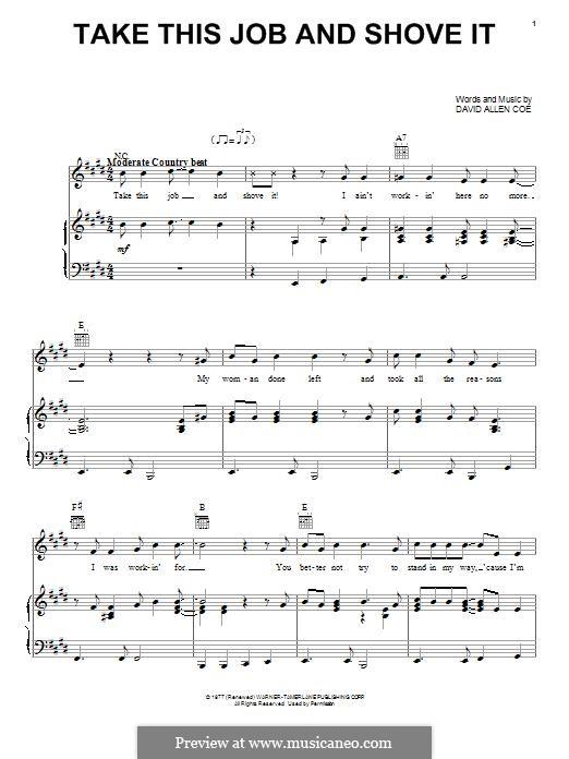 Take This Job and Shove It: Para vocais e piano (ou Guitarra) by David Allen Coe