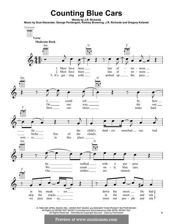 Counting Blue Cars (Dishwalla): para ukulele by George Pendergast, Gregory Kolanek, J.R. Richards, Scot Alexander