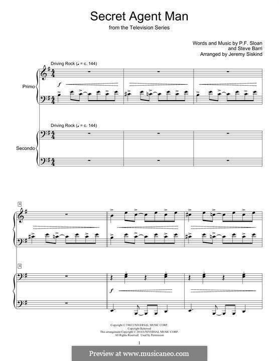Secret Agent Man (Johnny Rivers): Para Piano by P.F. Sloan, Steve Barri