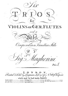 Six Trios for Violins (or Flutes) and Basso Continuo: parte basso continuo by Giuseppe Maria Magherini