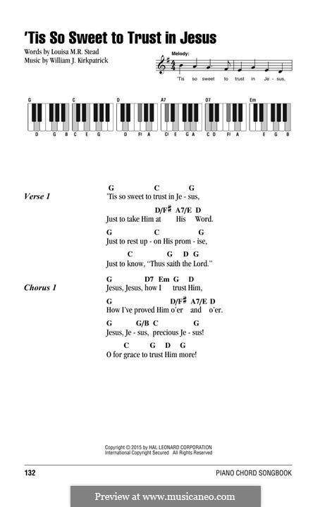 'Tis So Sweet to Trust in Jesus: Para vocais e piano by William (James) Kirkpatrick