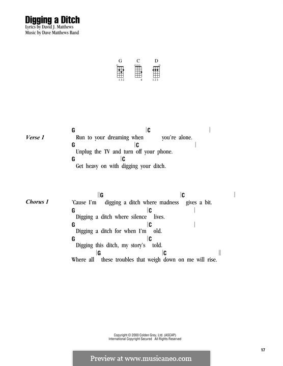 Digging a Ditch (Dave Matthews Band): para ukulele by David J. Matthews