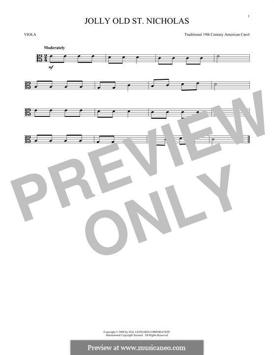 Jolly Old St. Nicholas: para viola by folklore