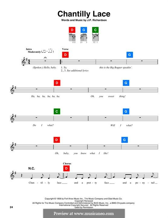 Chantilly Lace (The Big Bopper): melodia by J.P. Richardson