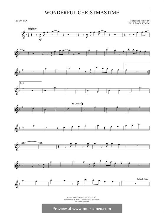 Wonderful Christmastime: para saxofone tenor by Paul McCartney